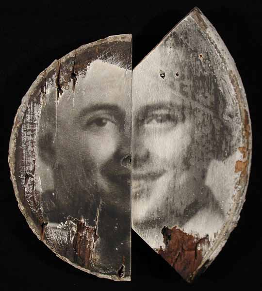 Photographic Assemblage on wood 11x13; David Prifti