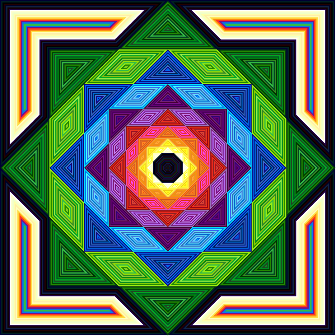 An image of digital art in a bright geometric pattern. Richard C. Elliott